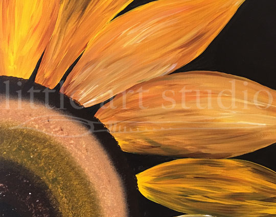 Sunflower Large Quarter on Black Canvas