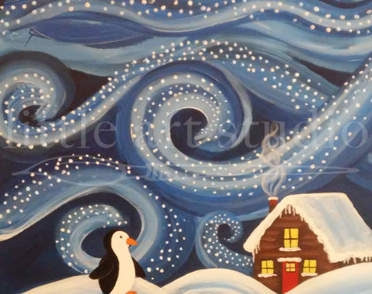 Snowy Cabin with Penguin